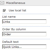 Quick Links Drop Down ToolPane